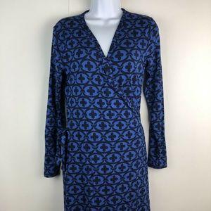 Boden Royal Blue Long Sleeve Midi Wrap Dress